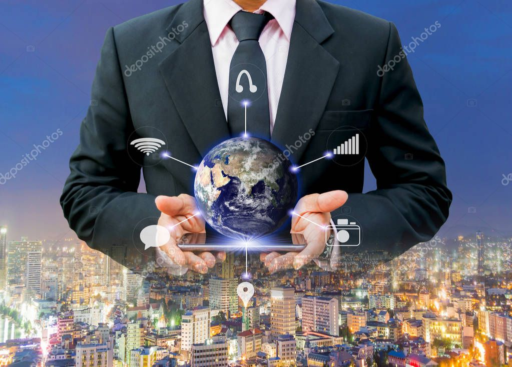 Business and Technology Network of the World 4.0 of Elements of this image furnished by NASA