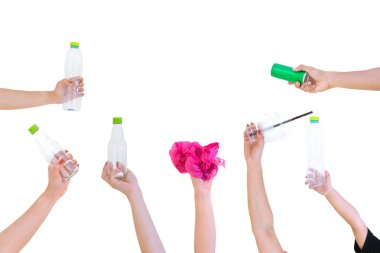 Hand hold show Recyclable plastic bottle bag a White background