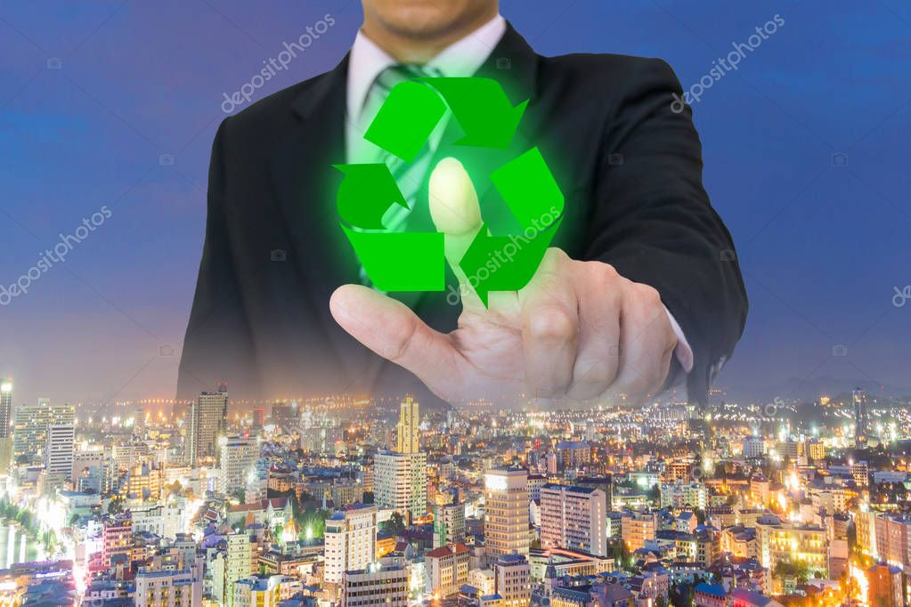 touch screen touching recycling concept symbol environmental