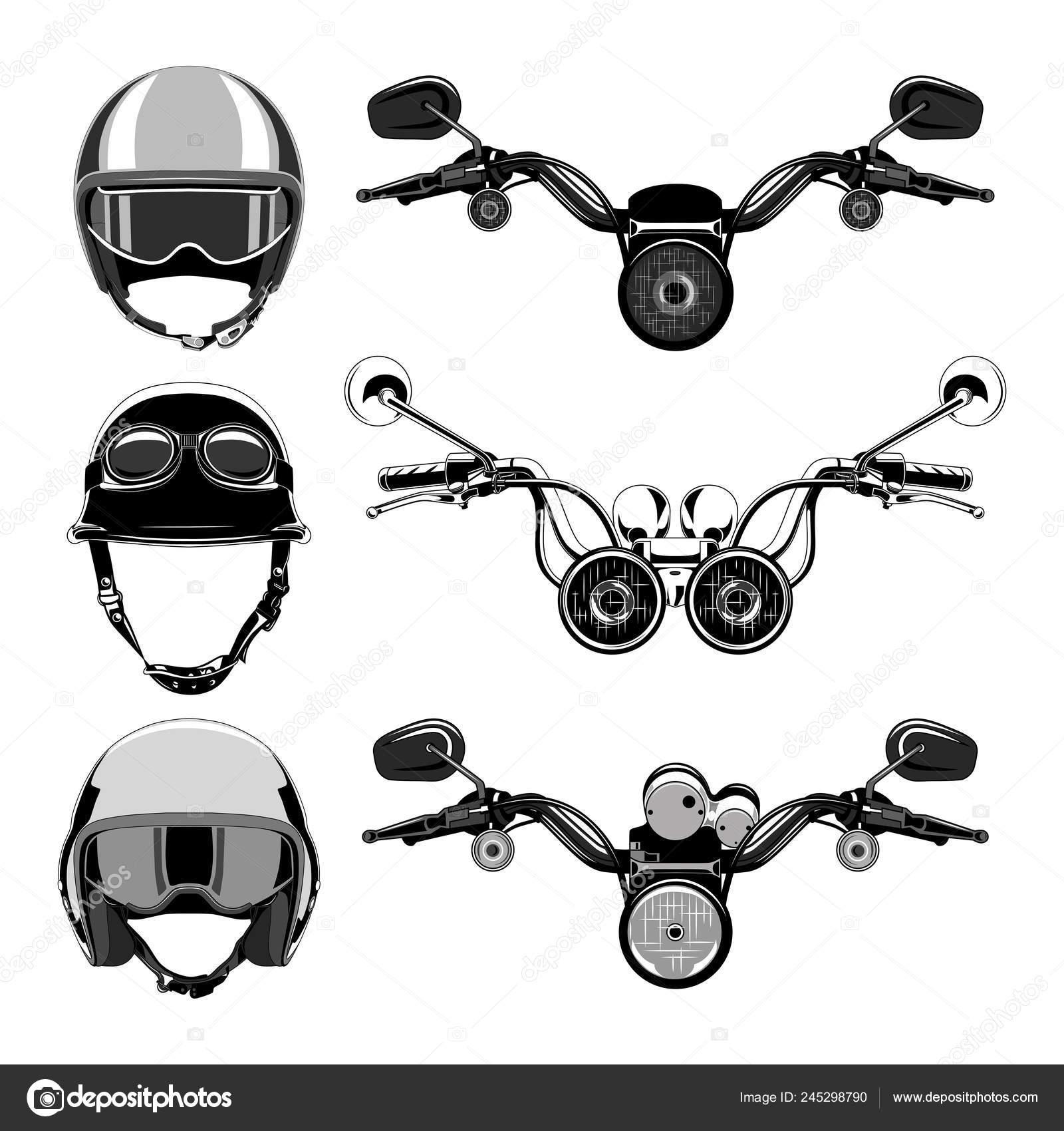 Conjunto Imágenes Vectoriales Manillar Moto Cascos Moto
