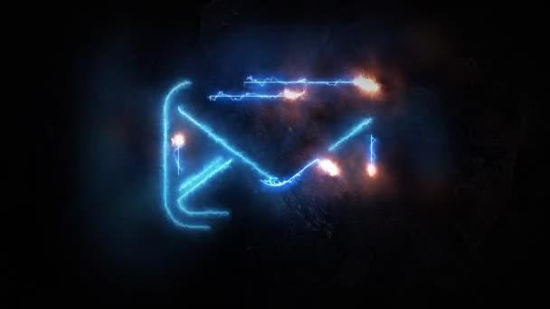 Elektrické výboje na ikonu e-mailu. E-mail rozzáří. Označení nemá žádný základ. 16