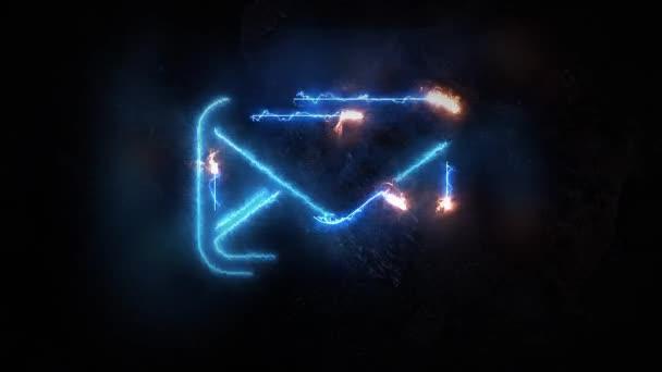 Elektromos kisülések az e-mail ikonra. E-mail kigyullad. A jel birtokol nincs alapja. 19