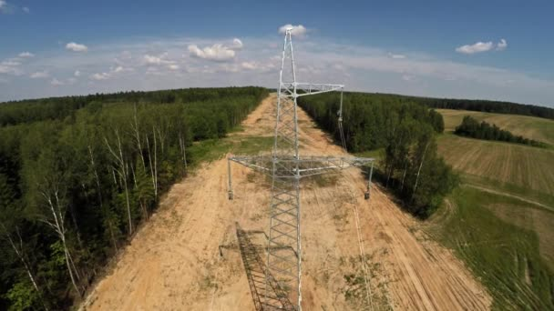 Installing pylons. Electricity High voltage 108