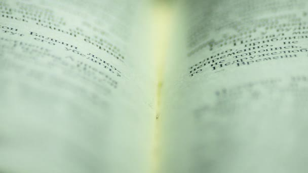 Open book. Book with macro. Fly over the book. 23