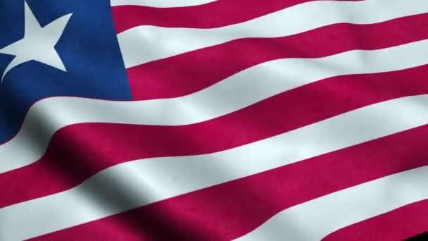 Libériai zászló varrat nélküli hurkolás, integetett animáció