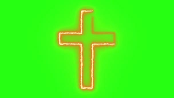 Christian Cross Symbol brennt in Flammen in Grünbildschirm-Background