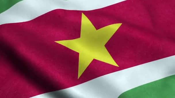 Suriname Flag Seamless Looping Waving Animation