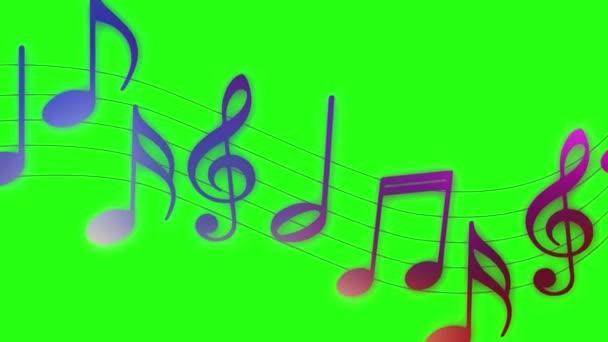 Létající hudební poznámky na zeleném pozadí obrazovky