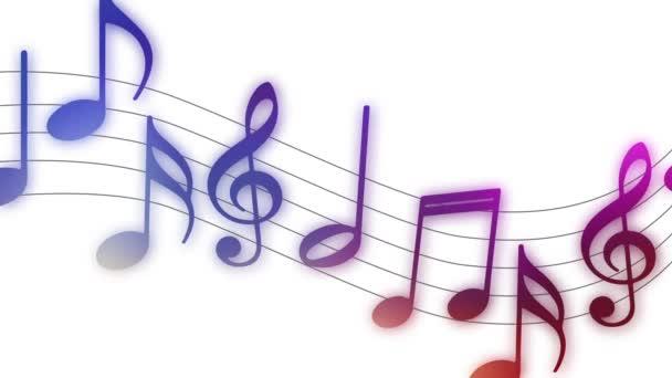 Létající hudební poznámky na bílém pozadí
