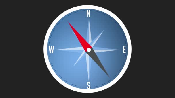 Compass background animation with moving arrow. Backdrop of navigation interface