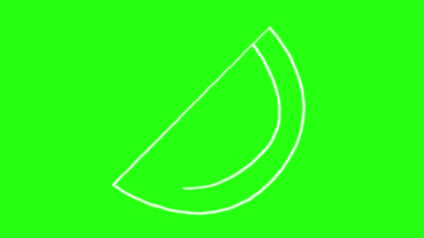 Watermelon Icon Hand Draw cartoon Animation Doodle in Green Screen