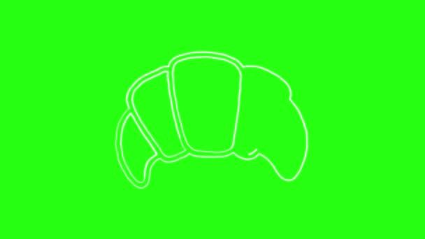 Kroasani Icon Hand Draw cartoon Animation Doodle in Green Screen