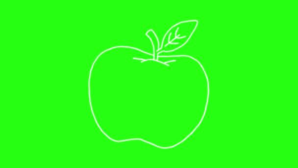 Apple Icon ruční kreslení kreslené animace Doodle v zelené obrazovce