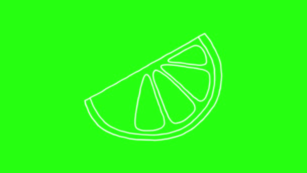 Lemon ikon Hand Draw rajzfilm animáció Doodle zöld képernyőn