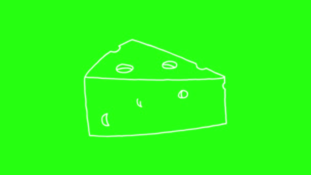Piece of Cheese Icon Hand Draw cartoon Animation Doodle in Green Screen