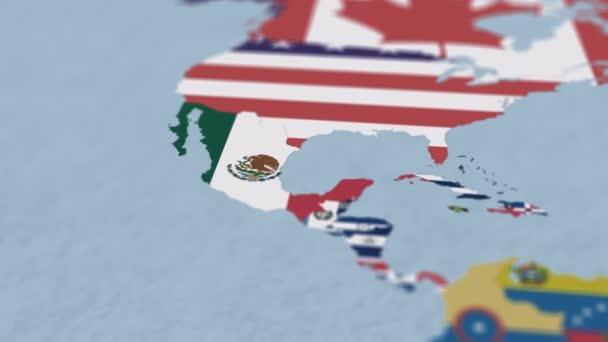 Mapa světa na mapě Severní Ameriky s povrchní hloubkou pole a zaostření na Mexiko