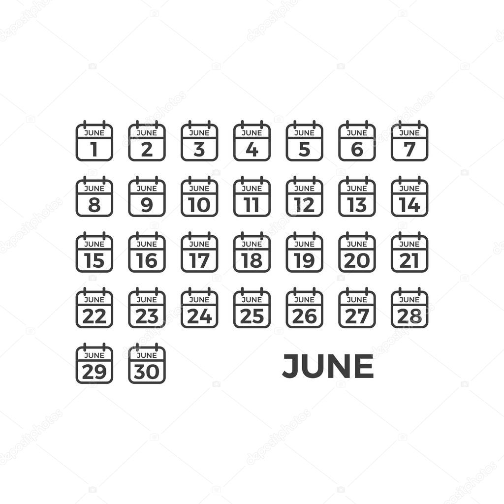 Modern Icon Calendar Template Set