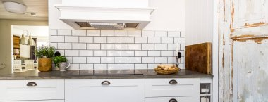 Horizontal banner of stylish kitchen sink white fancy clean interior