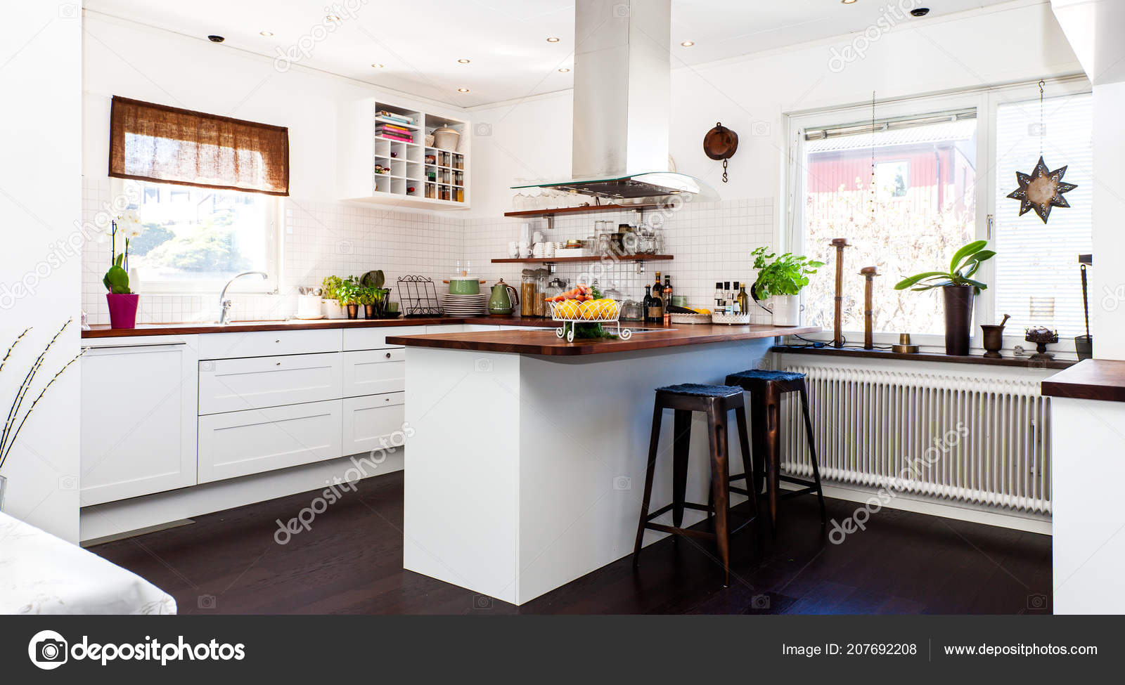 Fancy Kitchen Dark Floor White Cupboards Wooden Tables Stock
