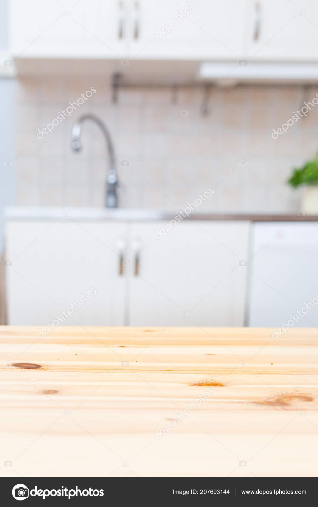 Holz Küchentisch Vordergrund Unscharf Arbeitsplatte Und ...
