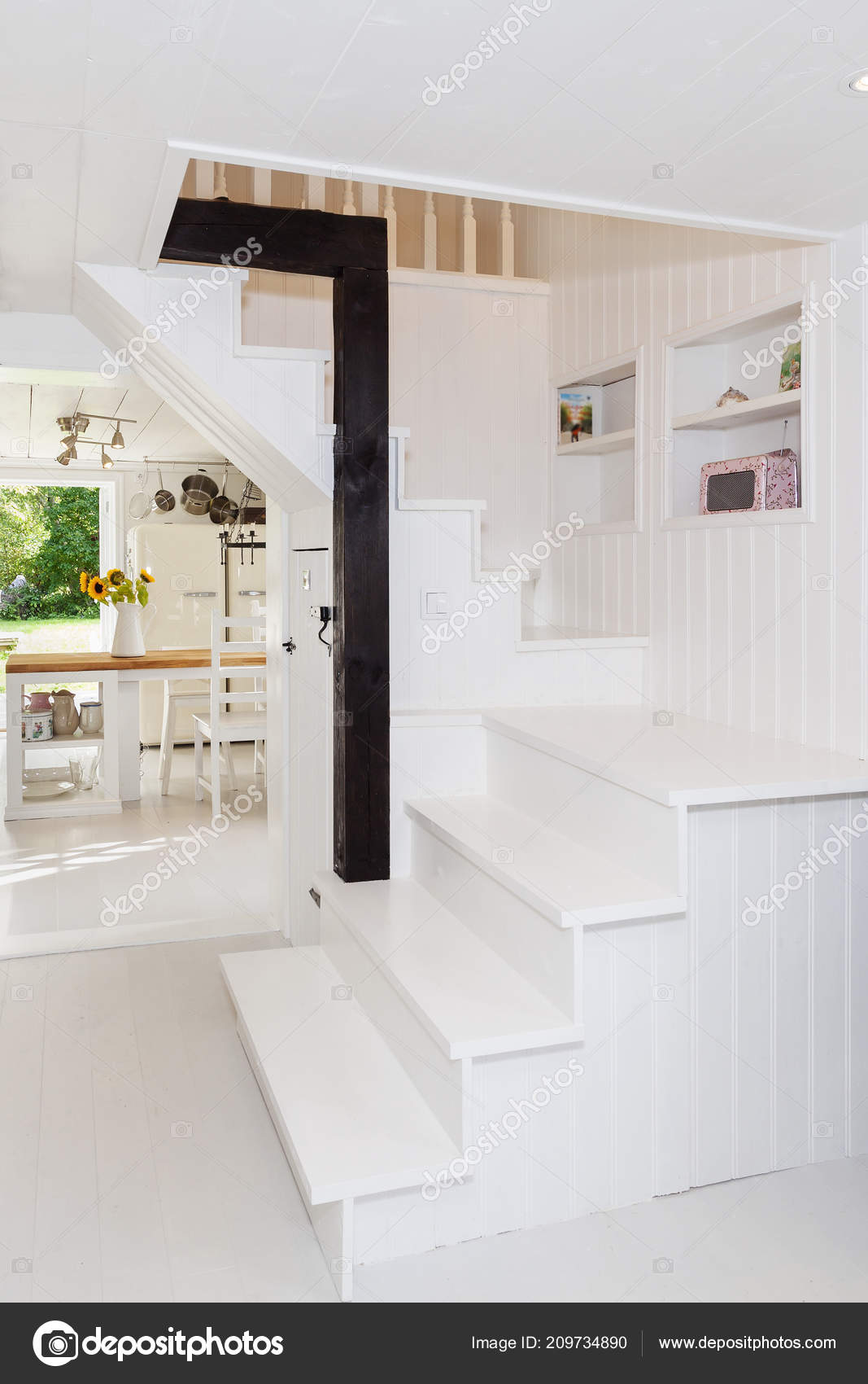 Innenseite Der Schicken Wohnung Treppe Und Eine Wand Der