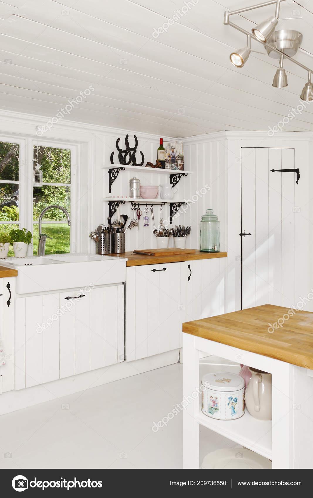 Interior Fancy Kitchen Background Stock Photo