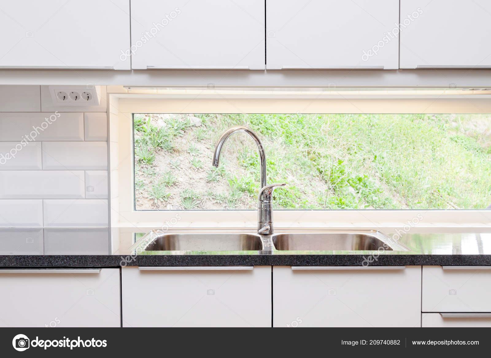 Kitchen Sink Window Background — Stock Photo ...