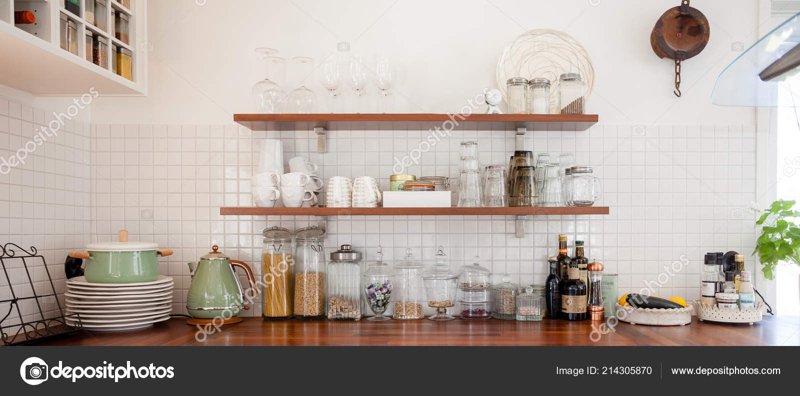 Banner Kitchen Interior Table White Cupboards Stock Photo