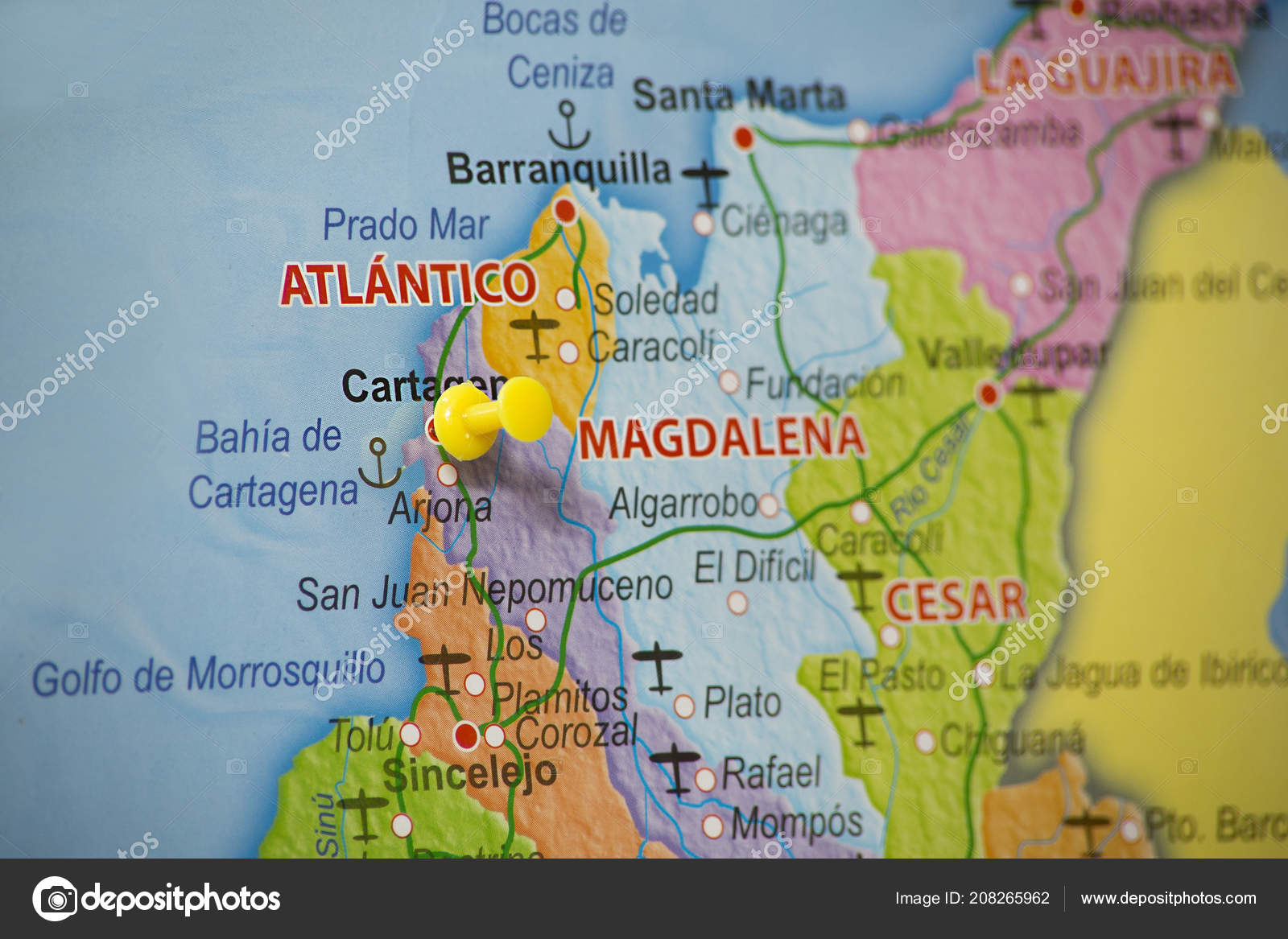 Map Colombia Location Cartagena Colombia Marked Map Pin Stock