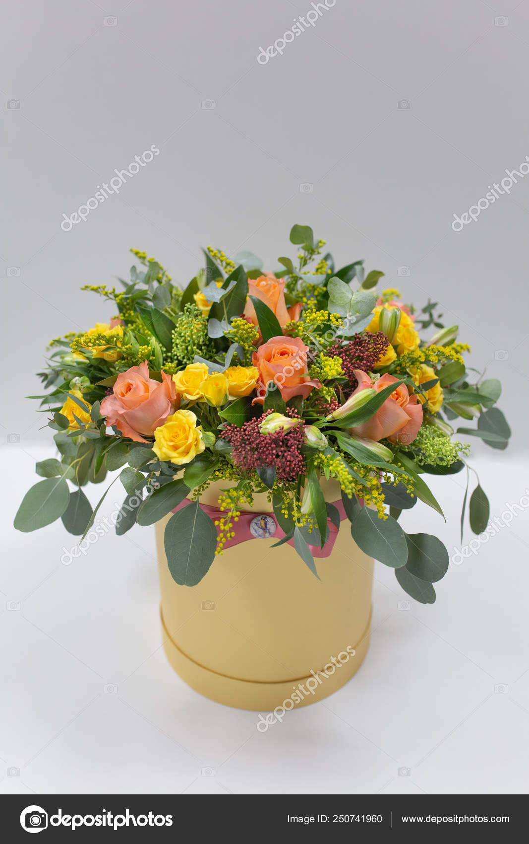 Cheerful Flower Arrangement Color Yellow Orange Green Pink Hat Box Stock Photo C Obeliayeu Gmail Com 250741960
