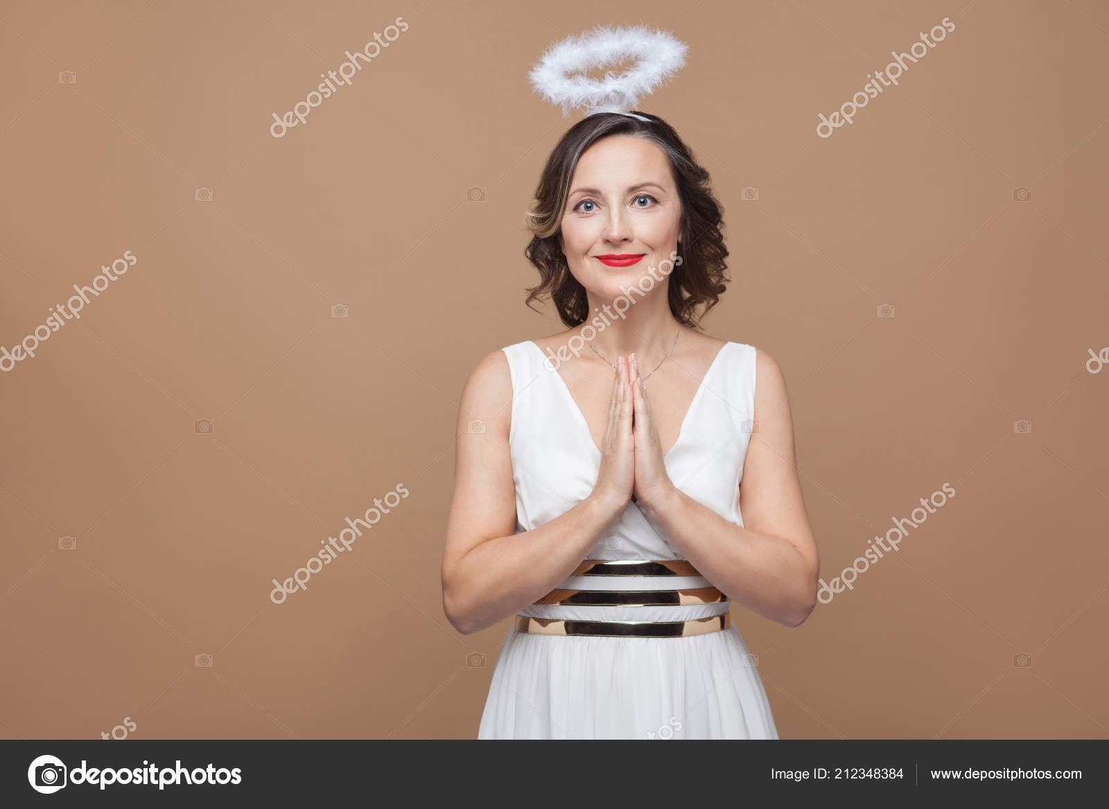 Elegant Angel Brunette Woman White Dress Nimbus Head Praying Looking Stock Photo
