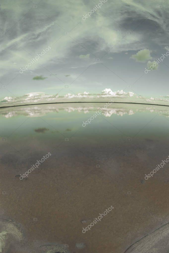 Nostalgic landscape, lagoon, vintage effect