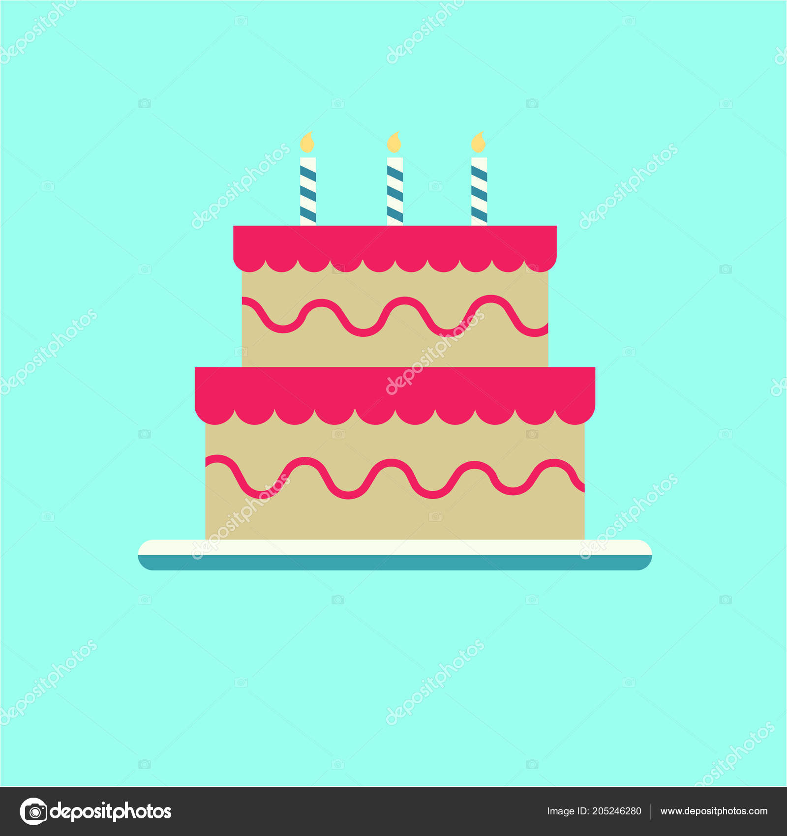 Cake Birthday Icon Flat Design Stock Vector C Akavector 205246280