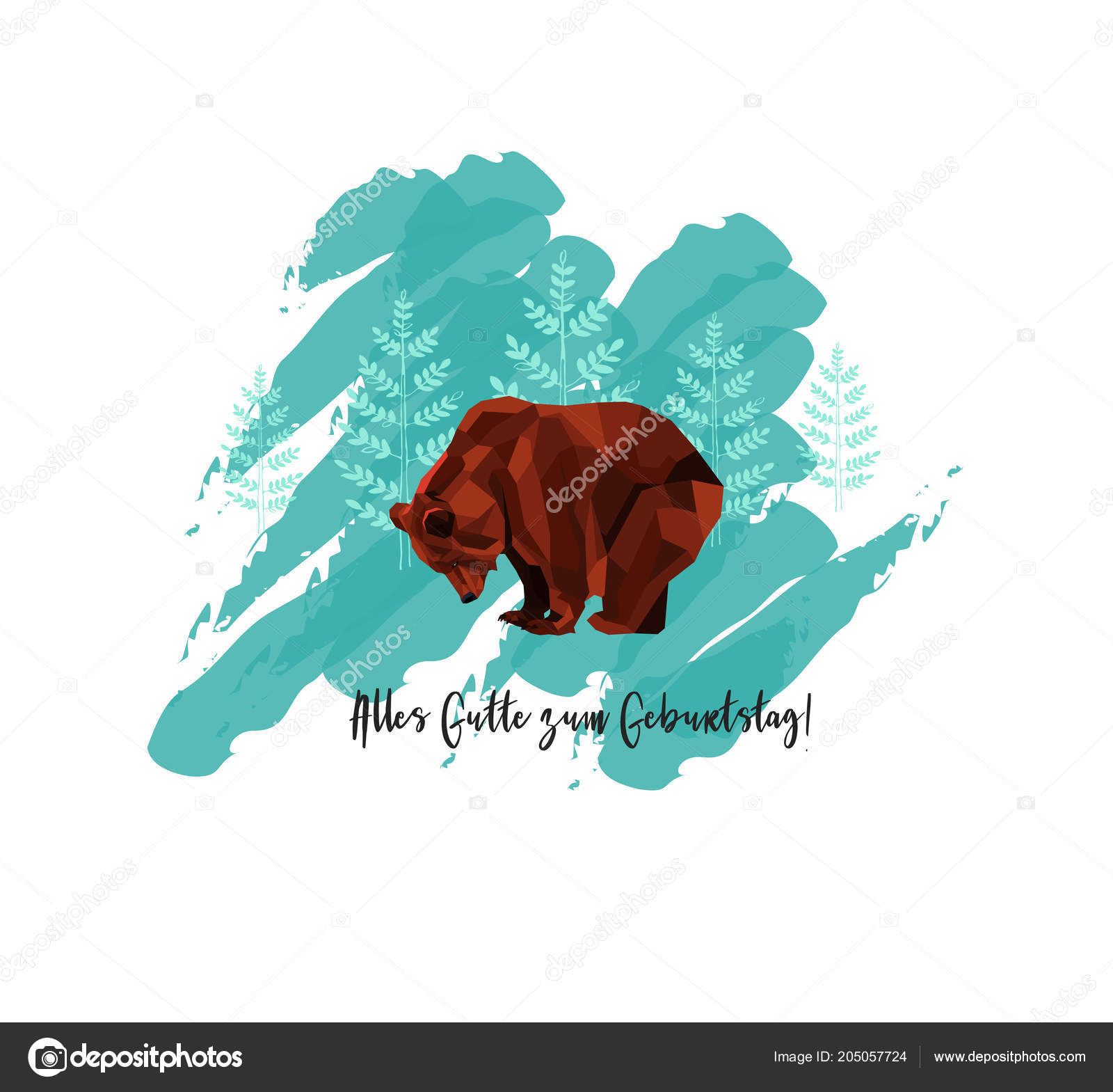 Greeting Card Low Poly Brown Bear Trees Background Text German