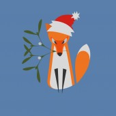 Fényképek Illustrated He Fox Sitting with Mistletoe Branch as a Symbol of Happiness in the Muzzle with Santa Hat on the Head. Designed for Christmas Card, Greetings Card, Nameplate etc.