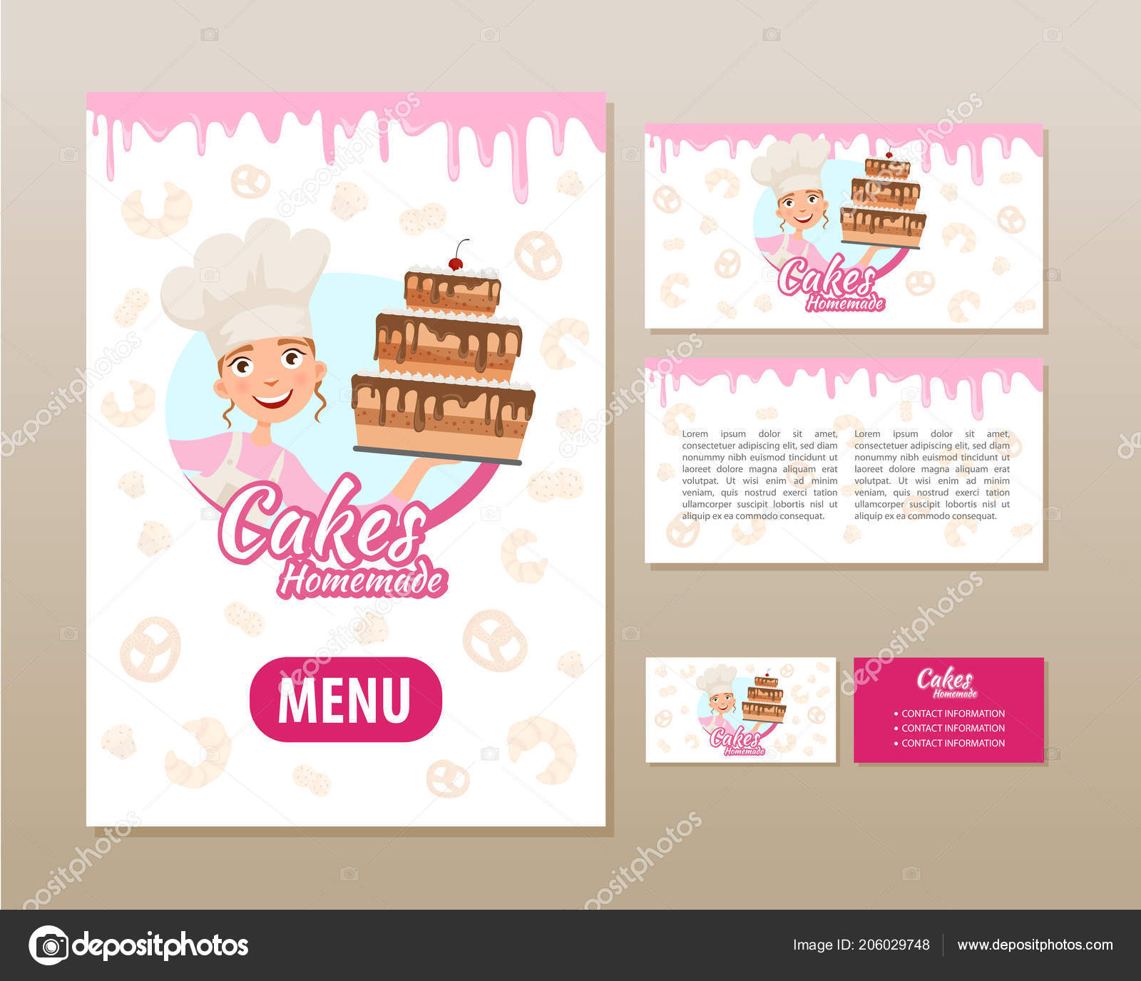 Templates Printing Bakery Poster Flyer Business Card Stock Vector Within Cake Business Cards Templates Free