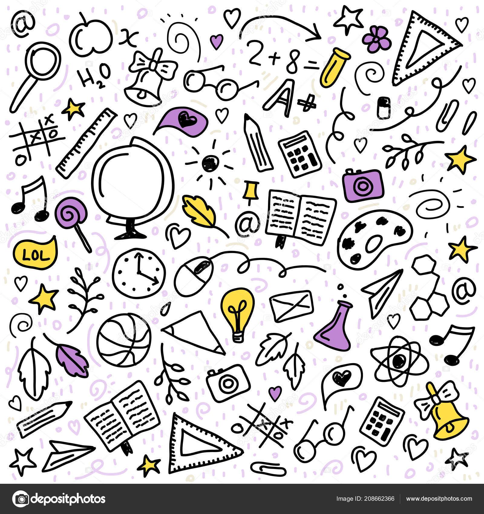 Cute Seamless Pattern School Supplies Creative Elements Back School Background Stock Vector C Igdeevaalena 208662366