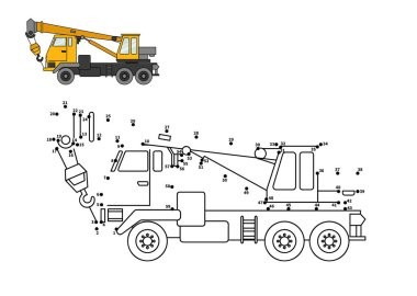Special equipment. Truck crane. Connect the dot and color. Game for preschool kids with simple educational gaming level.