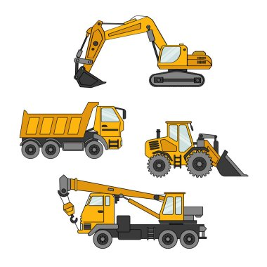 Vector set of special equipment. Machines for construction and repair. Set of icons. Cartoon vector illustration
