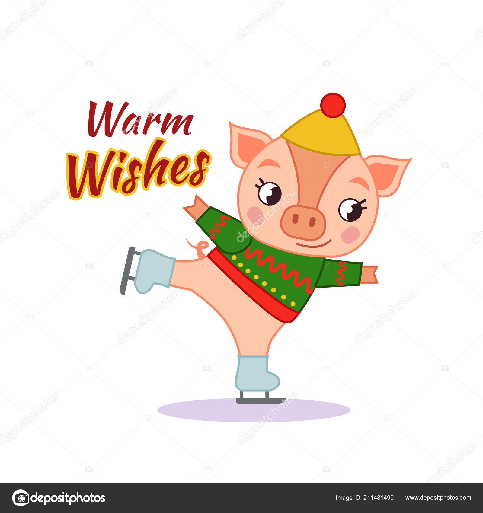 vector cute piggy skates template postcard poster new year chinese stock vector