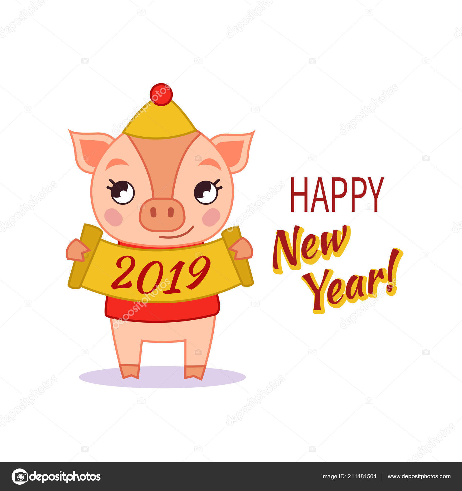 cute piglet holding sign 2019 template postcard poster new year