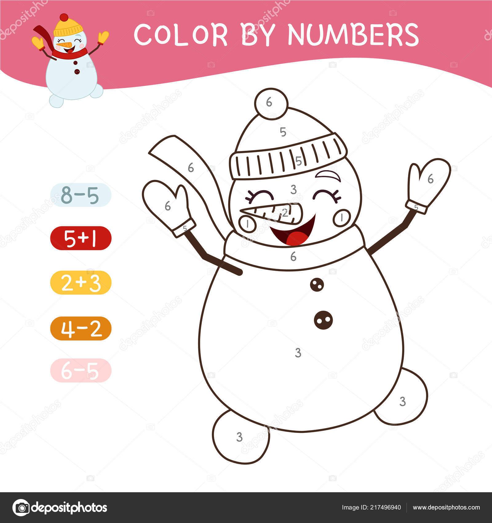 раскраска детей раскраска номерам милый мультфильм снеговика