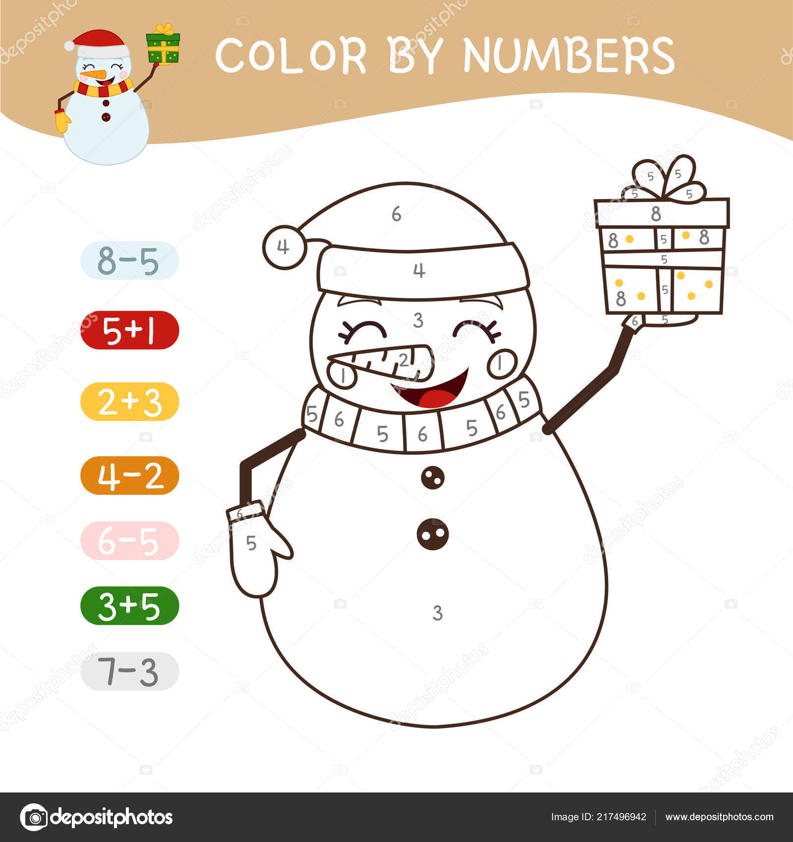 Coloring Book Children Coloring Numbers Vector Cute Cartoon