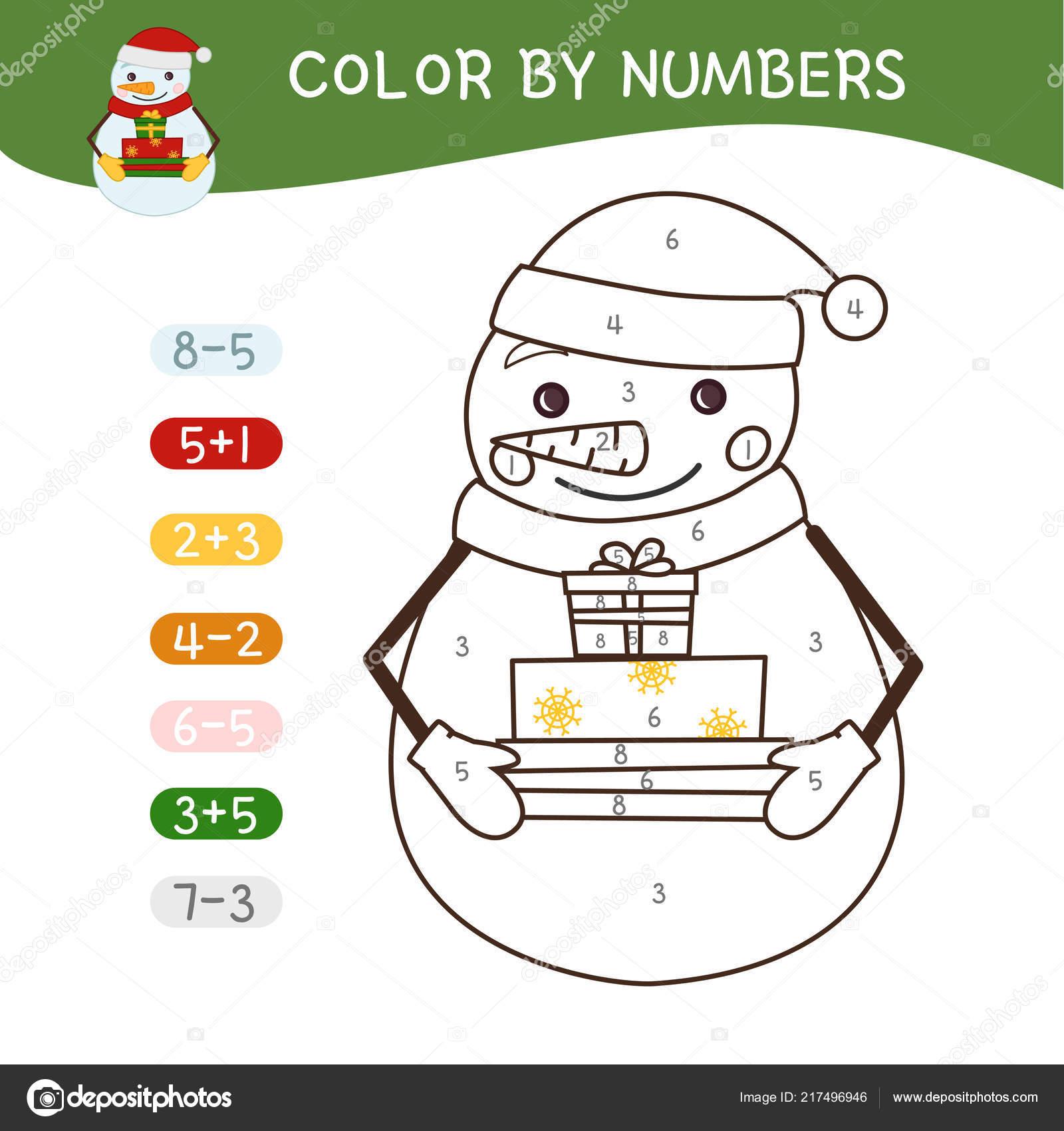 Libro Colorear Para Los Niños Colorear Por Números Muñeco Nieve