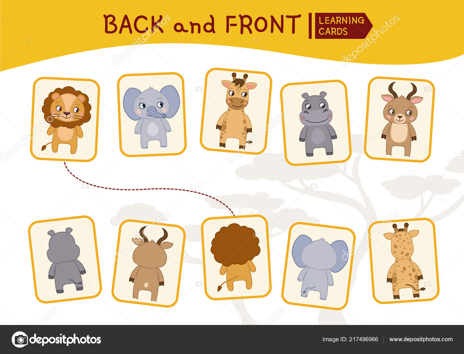Matching Children Educational Game Match Parts African Animals Activity Pre Stock Vector C Igdeevaalena 217496966