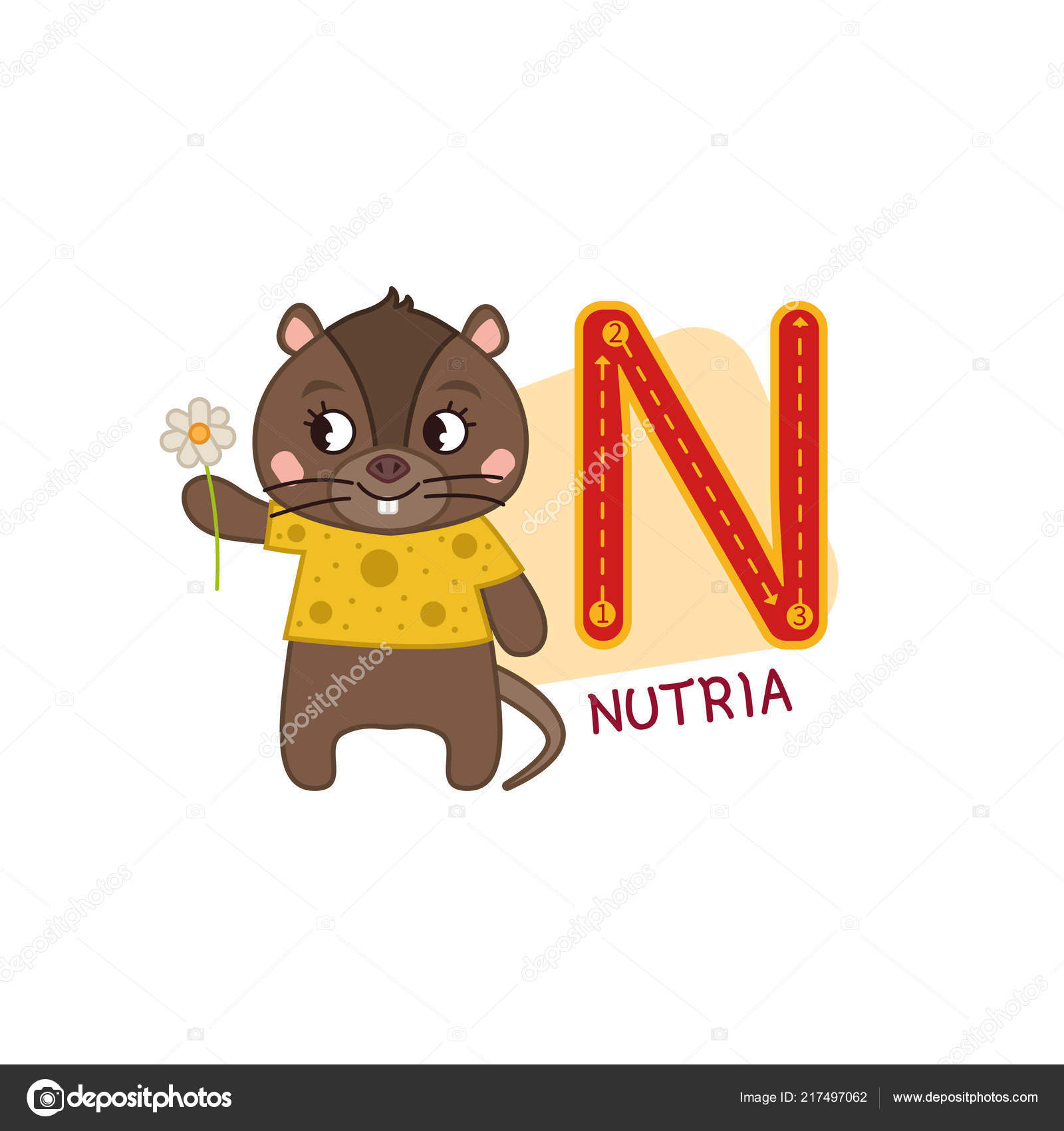 Image of: Letter Vector Cute Kids Animal Alphabet Letter N Cute Cartoon Nutria Vector By Igdeevaalena Depositphotos Vector Cute Kids Animal Alphabet Letter Cute Cartoon Nutria Stock