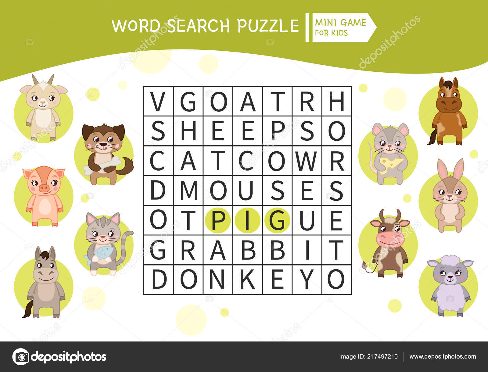 Educational Game Kids Word Search Puzzle Farm Animals Kids