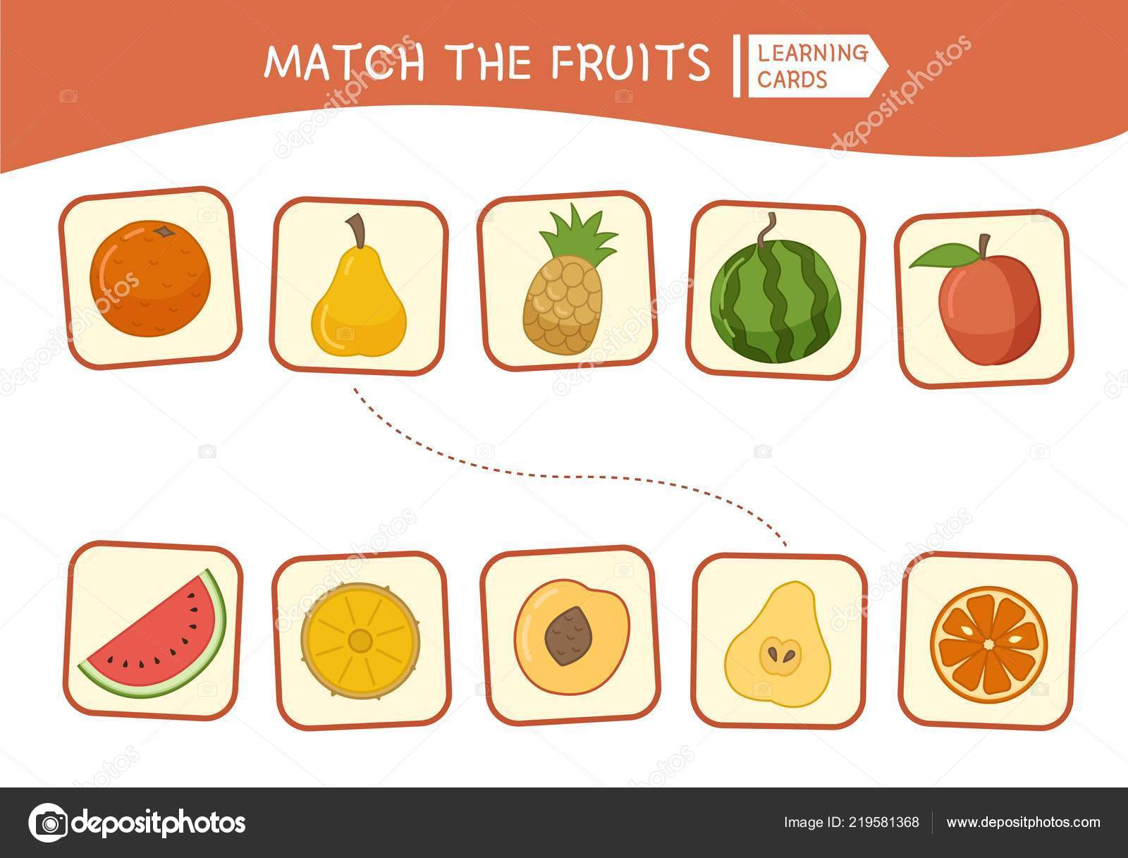 Matching Children Educational Game Match Parts Cartoon Fruits Activity Pre Stock Vector C Igdeevaalena 219581368