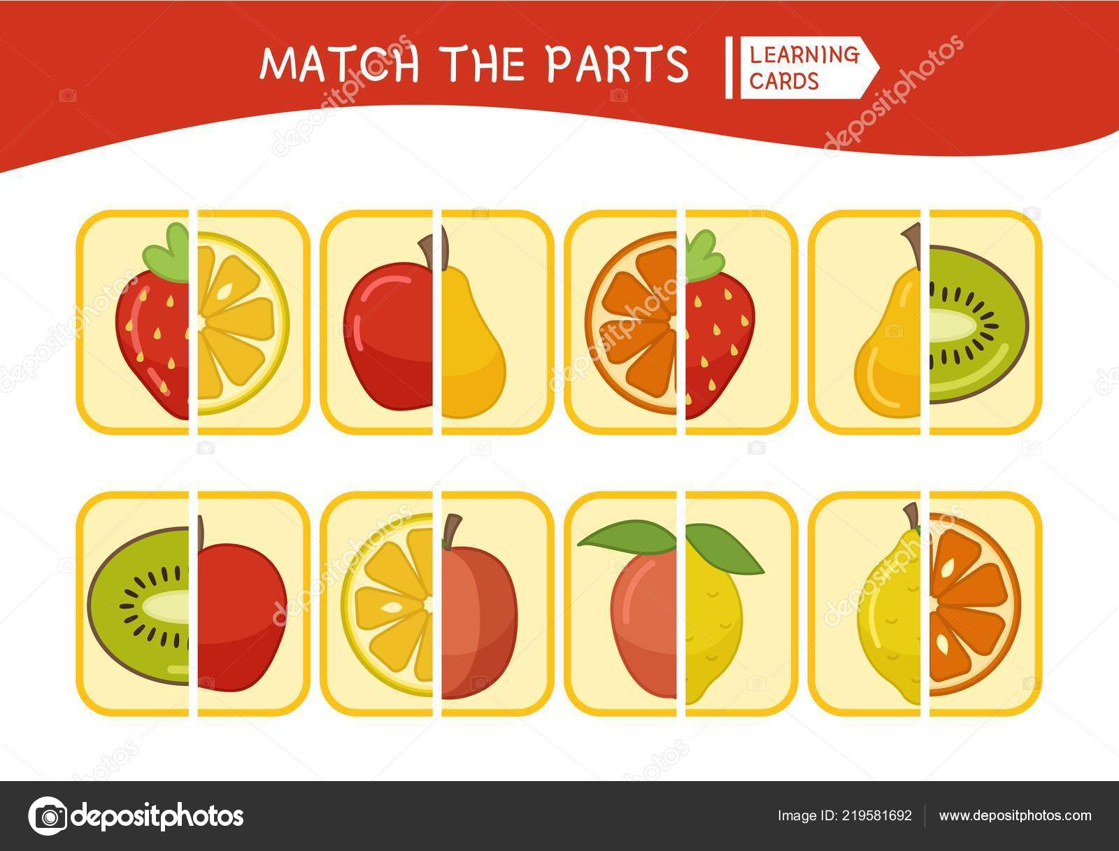 Matching Children Educational Game Match Parts Cartoon Fruits Activity Pre Stock Vector C Igdeevaalena 219581692