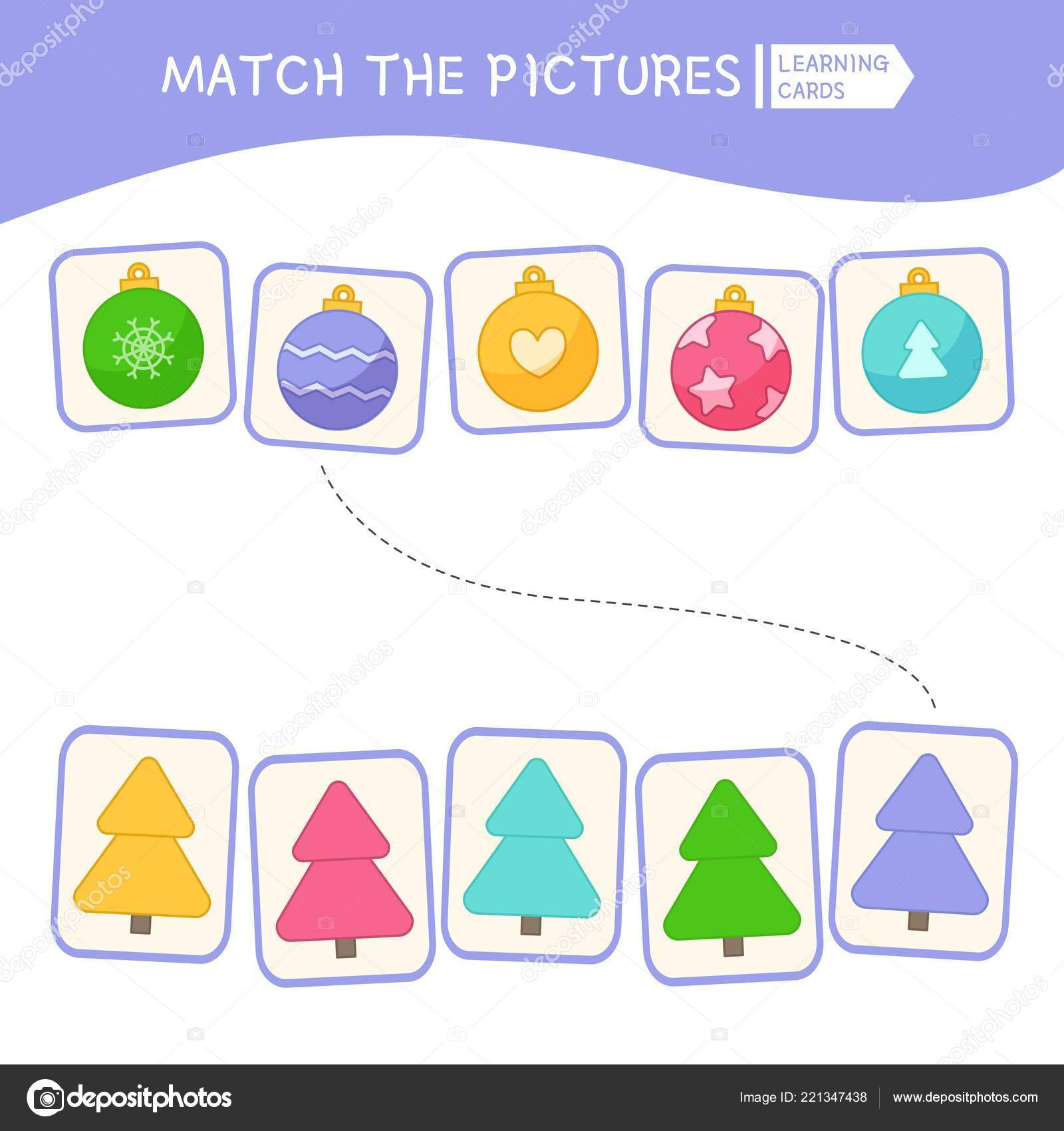 Matching Children Educational Game Match Parts Christmas Balls Tree Activity — Stock Vector
